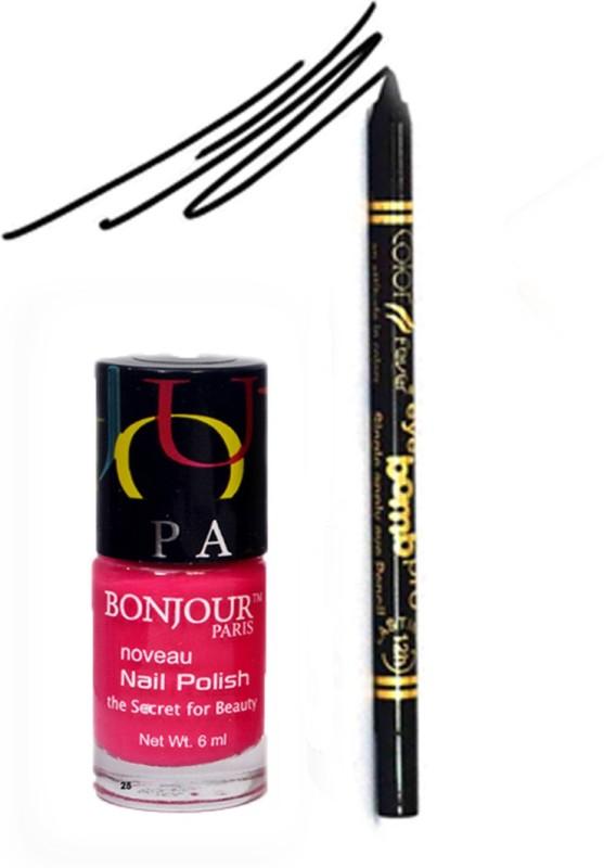 Bonjour Paris Color Fever 910 Black Pro Kajal+Pink Nail Polish(Set of 2)