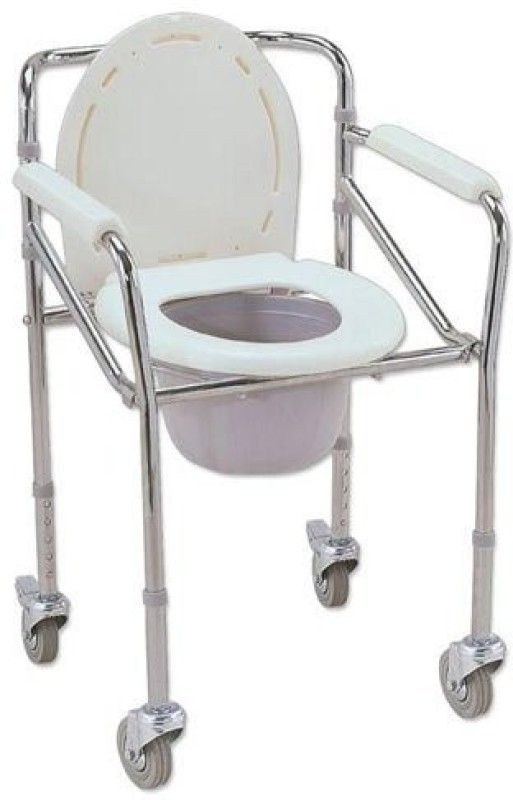 Y Care Height adjustable Foldable with wheels Commode Chair(White)