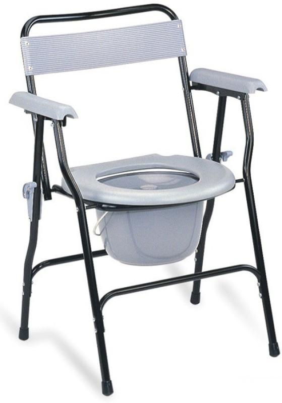 Health Track folding Commode Chair(Black, Grey)