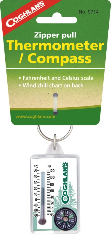 Coghlans Zipper Pull Thermometer with Compass