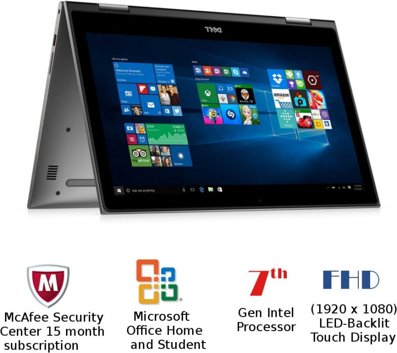 Dell Inspiron 5000 Core i7 7th Gen - (8 GB/1 TB HDD/Windows 10 Home) 5578 2 in 1 Laptop(15.6 inch, Gray, 1.62 kg, With MS Office)