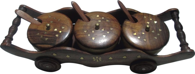 BKDT Marketing Hand Made Beautiful Wooden Trolly With 3 Bowls And Spoon For Pickle 7 Piece Condiment Set(Wood)