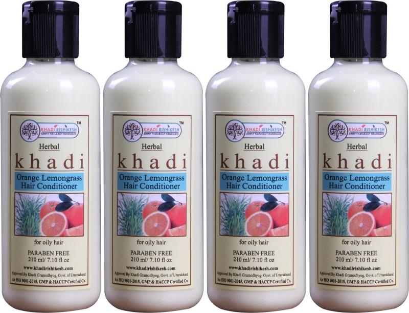 Khadi Rishikesh Herbal Orange Lemongrass Pack of 4 Hair-Conditioner Each -(210 ml)