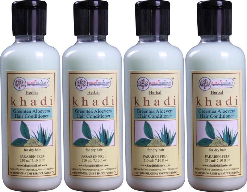 Khadi Rishikesh Herbal GreenTea Aloevera Pack of 4 Hair-Conditioner Each -(210 ml)