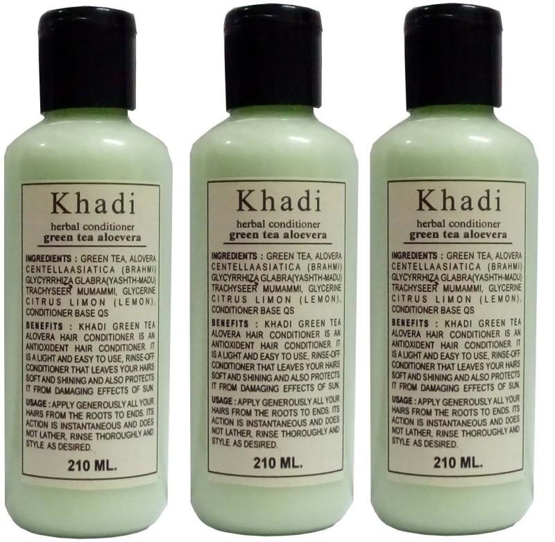 Khadi Herbal Green Tea Aloe Vera Hair Conditioner pack of 3 pcs(630 ml)