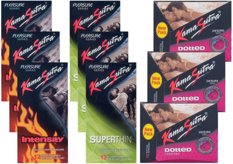 KamaSutra Intensity, Dotted, Superthin - UPFK200385 Condom(Set of 9, 108S)