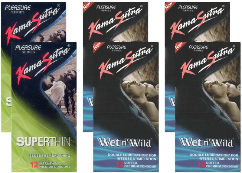 KamaSutra Superthin, Wet n Wild - UPFK200073 Condom(Set of 6, 72S)