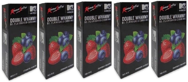 KamaSutra MTV Bi- Flavoured Strawberry- Blueberry 60pc Condom(Set of 5, 60S)