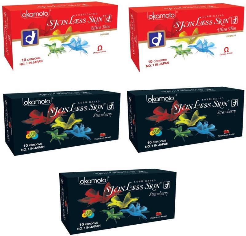 Okamoto Skinless Skin - Ultra Thin x 2 and Strawberry 1350 Dots x 3 Condom(Set of 5, 50S)