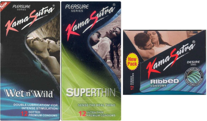 KamaSutra Wet n Wild, Superthin, Ribbed Condom(Set of 3, 36S)