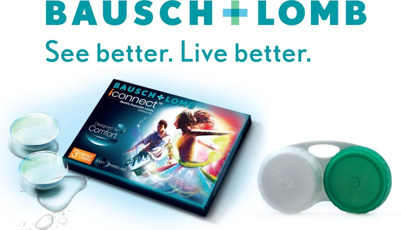 Bausch & Lomb Iconnect With Lens Case By Visions India Monthly Contact Lens(-2.75, Clear, Pack of 3)
