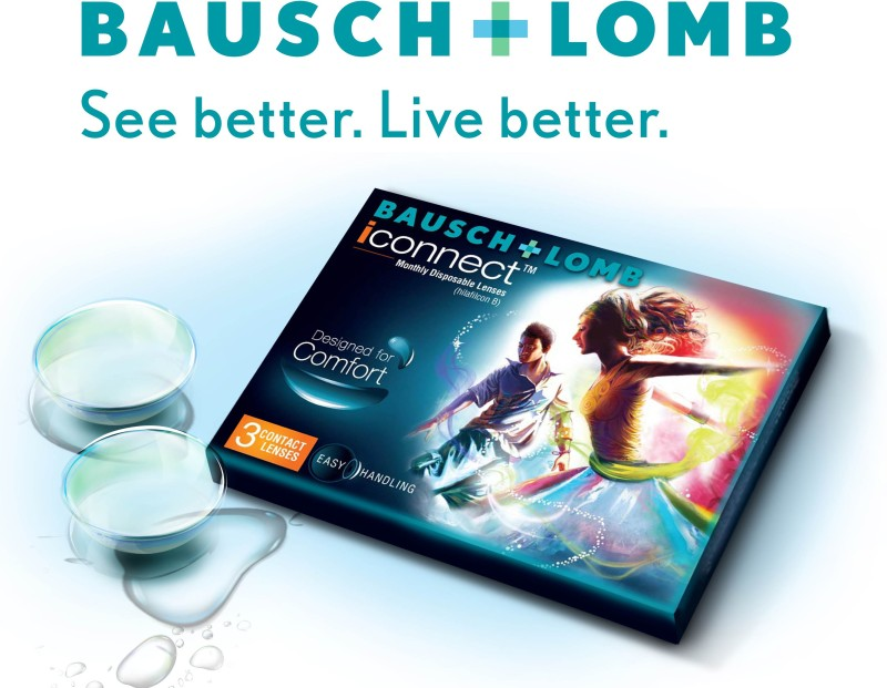 Bausch & Lomb Iconnect By Visions India Monthly Contact Lens(-6.50, Clear, Pack of 3)