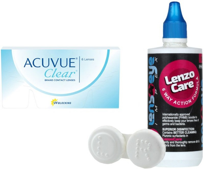Johnson & Johnson Acuvue Clear with LensCareKit By Lens4eye Monthly Contact Lens(-0.75, Clear, Pack of 6)