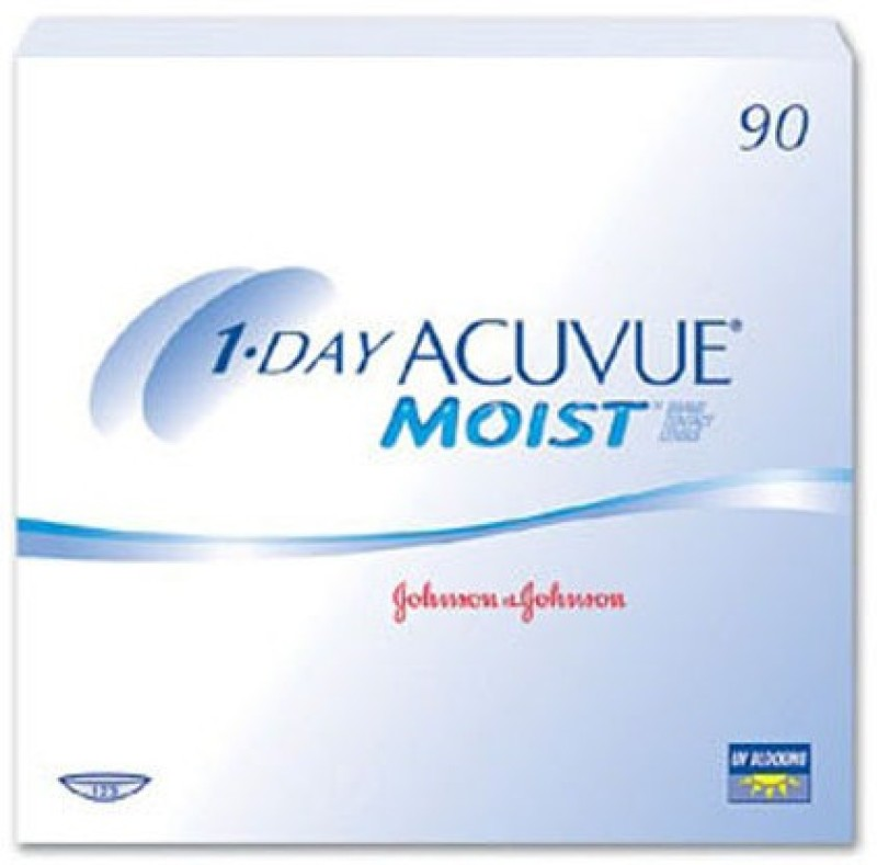 Acuvue 1-Day Moist Daily Contact Lens(-9, Clear, Pack of 90)