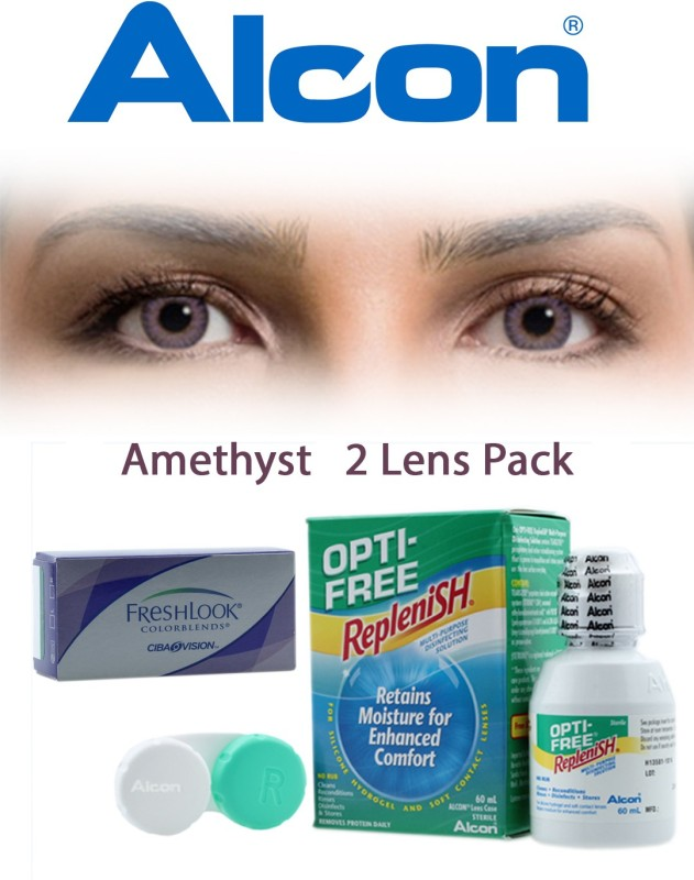 Ciba Vision FreshLook COLORBLENDS Amethyst With LensCareKit By VisionsIndia Monthly Contact Lens(-8.00, Amethyst, Pack of 2)