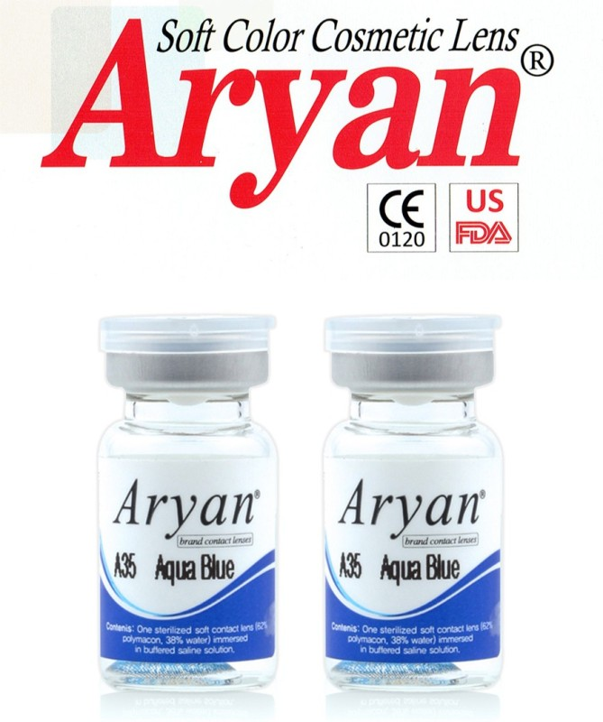 Aryan Tri Tone Aqua Blue By Visions India Yearly Contact Lens(-4.50, Aqua Blue, Pack of 2)