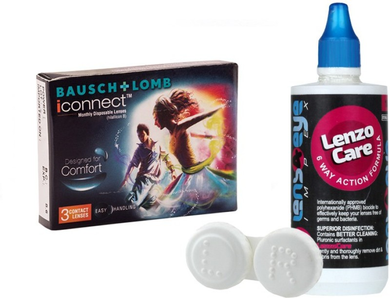 Bausch & Lomb iConnect 3pk with LensCareKit By Lens4Eye Monthly Contact Lens(-6.50, Clear, Pack of 3)