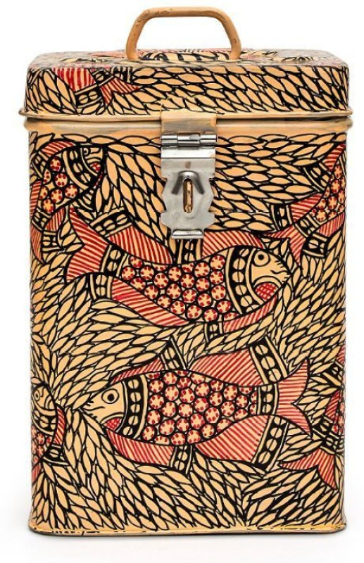 Kaushalam Pink Fish  - 3 L Steel Grocery Container(Beige)