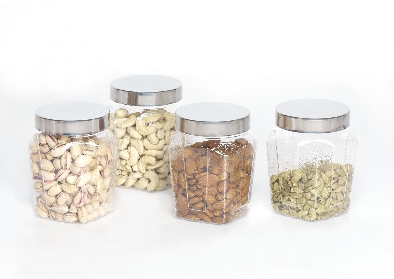 Steelo 4 Pieces PET - Squarish  - 800 ml Plastic Food Storage(Pack of 4, Clear)