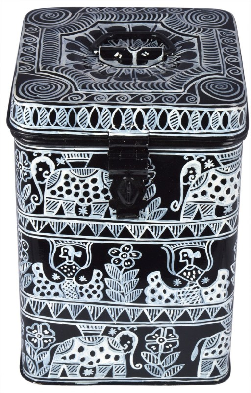 Kaushalam Black And White  - 3 L Steel Grocery Container(Black)