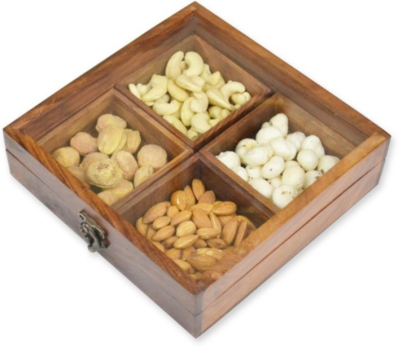 Skywoods Wooden Dry Fruit Box  - 300 ml Wood Spice Container(Brown)