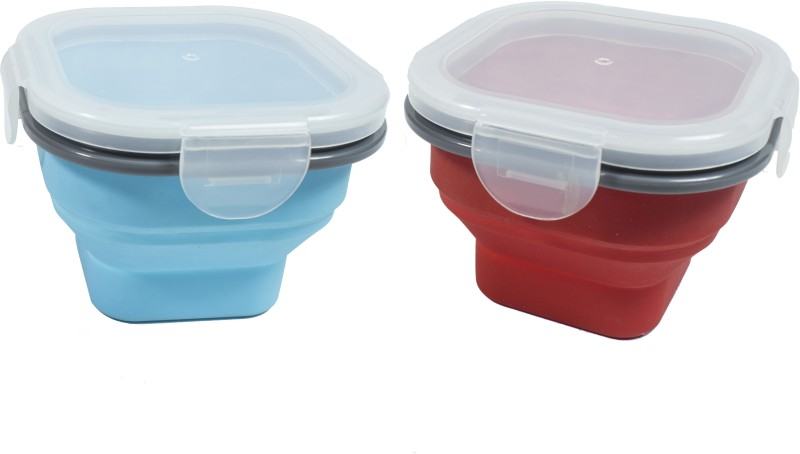 Polo Lifetime Expandable Silicone  - 315 ml Silicone Grocery Container(Pack of 2, Red, Blue)