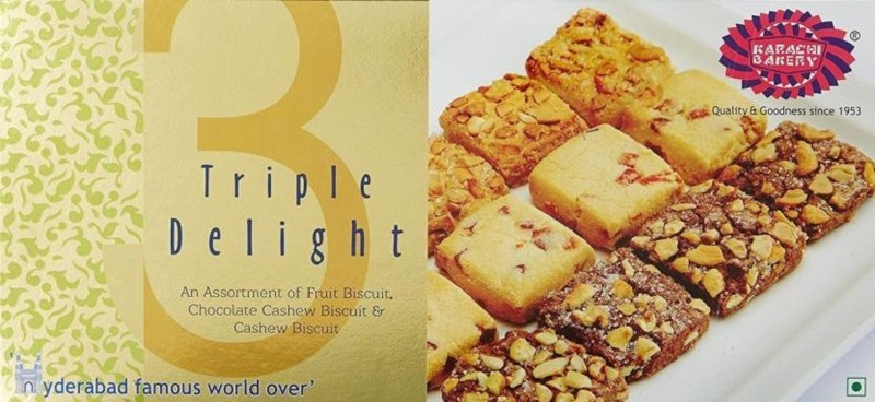 Karachi Bakery Gold Triple Delight Fruit,Chocolate Cashew and Cashew 600g (Pack of 2)(600 g, Pack of 2)