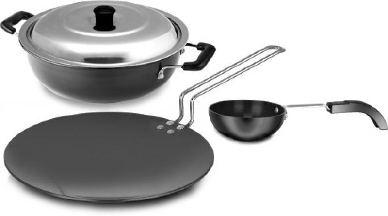 Sumeet Hard Anodised Superb Six Cookware Set(Aluminium, 3 - Piece)