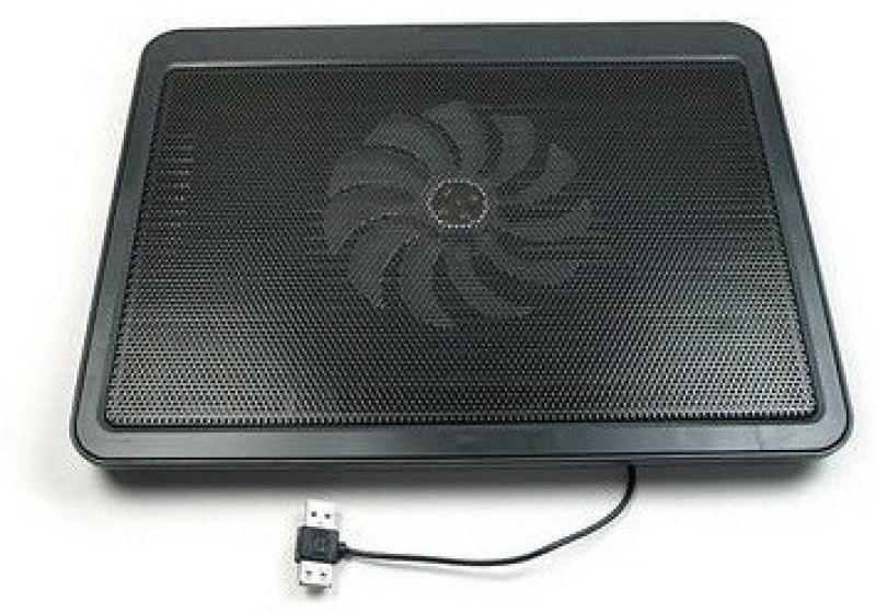 De-TechInn USB Powered Metal Body Big Fan Stand For Laptop Notebook Blue Light 1 Fan Cooling Pad(Multicolor, Black)