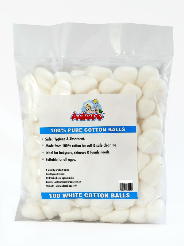 Adore 100% Pure Cotton Balls White -100pc (pack of 6)(100 Units)