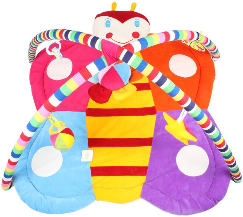 Ole Baby Plushy Butterfly Twist And Fold Musical Activity Play Gym-Newborn Playmat(Multicolor)