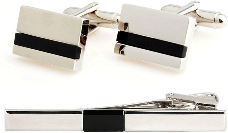 Peluche Brass Cufflink & Tie Pin Set(Black, Silver)
