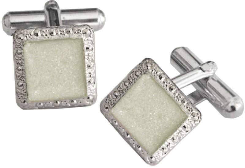 Rich & Famous Brass Cufflink(White, Silver)