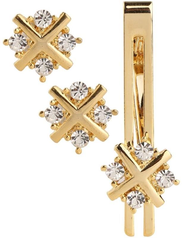 Sanjog Brass Cufflink & Tie Pin Set(Gold)
