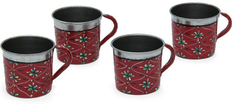 Kaushalam Cup Set Of 4 Red Stainless Steel(Red, Pack of 4)