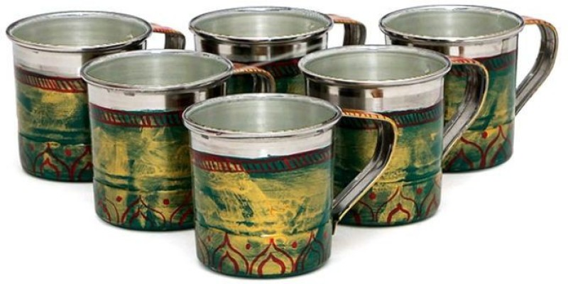 Kaushalam Cup Set Of 6 Green Stainless Steel(Green, Pack of 6)