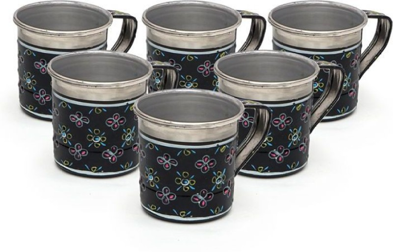 Kaushalam Cup Set Of 6 Black Stainless Steel(Black, Pack of 6)