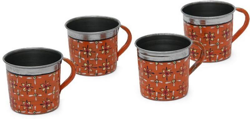 Kaushalam Cup Set Of 4 Orange Stainless Steel(Orange, Pack of 4)