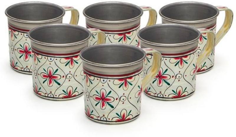 Kaushalam Cup Set Of 6 White Stainless Steel(White, Pack of 6)