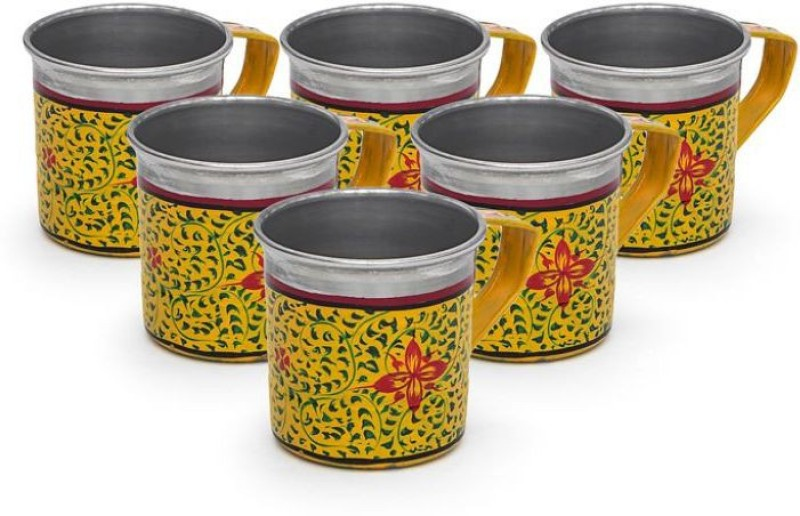 Kaushalam Cup Set Of 6 Yellow Stainless Steel(Yellow, Pack of 6)