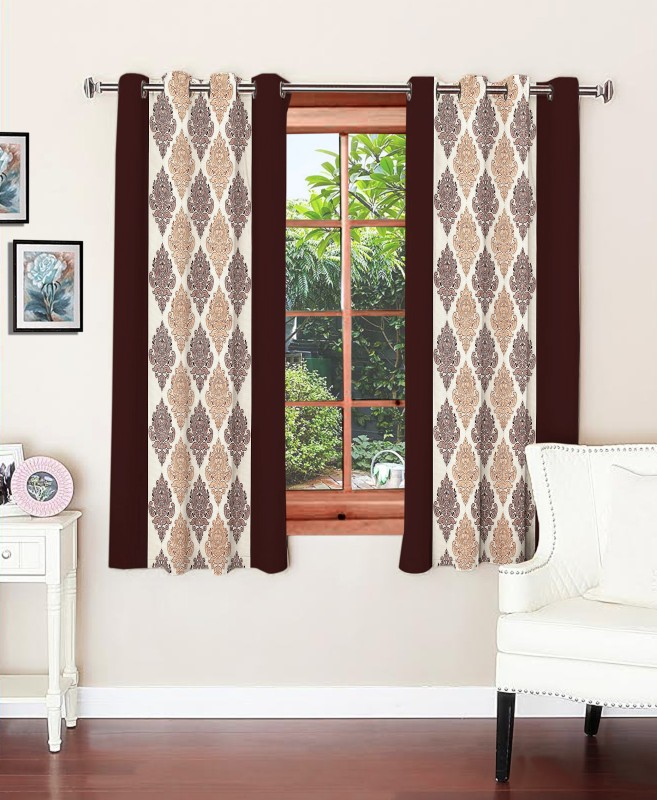 Optimistic Home Furnishing 150 cm (5 ft) Polyester Window Curtain (Pack Of 2)(Motif, Brown)