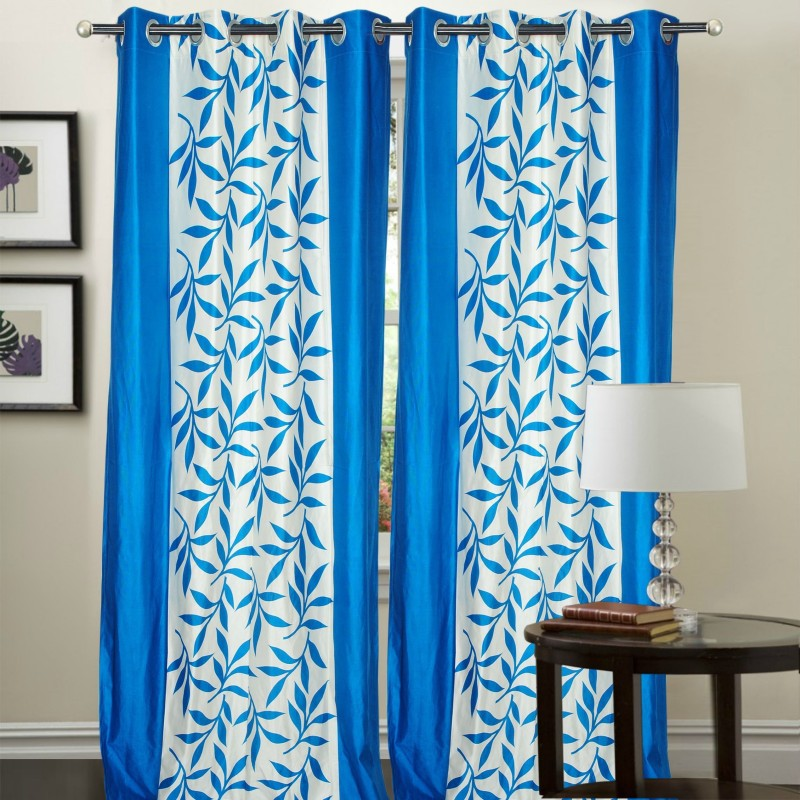 Ville Style 2 m (0 ft) Polyester Window Curtain (Pack Of 2)(Floral, Light Blue)