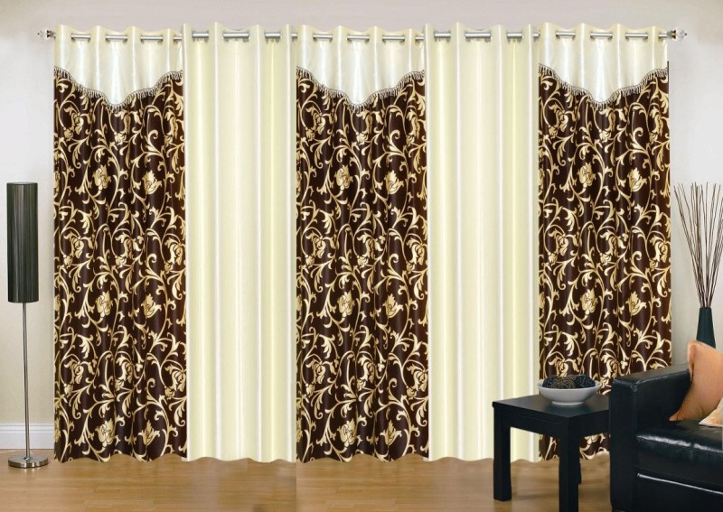 check MRP of brown and cream curtains Ville Style