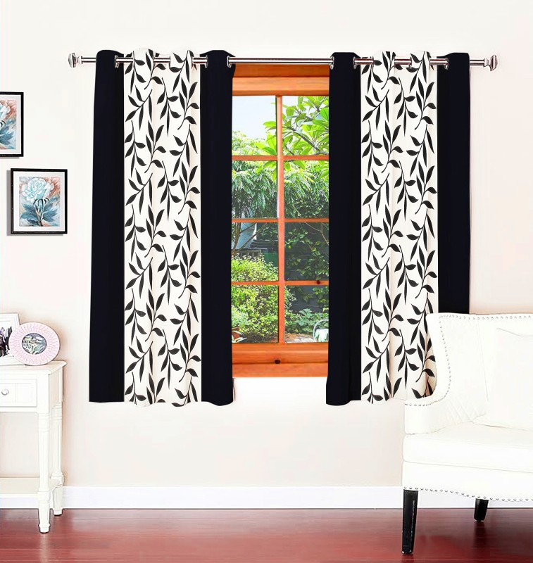 Optimistic Home Furnishing 150 cm (5 ft) Polyester Window Curtain (Pack Of 2)(Floral, Black)
