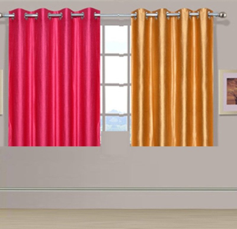 ExpressionsHome 152 cm (5 ft) Polyester Window Curtain (Pack Of 2)(Solid, Pink, Gold)