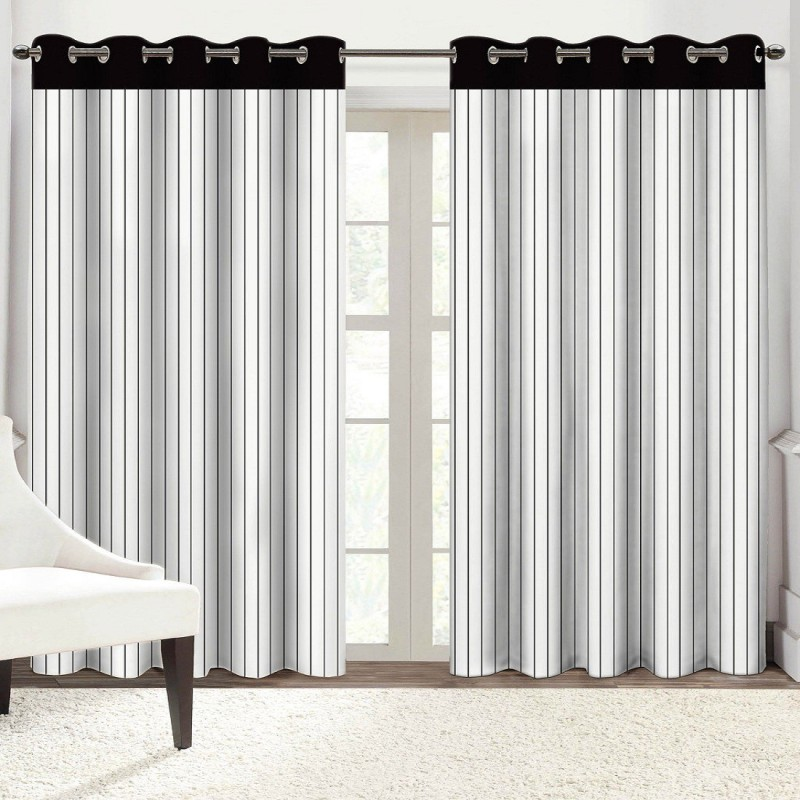 check MRP of striped curtains black and white Solaj