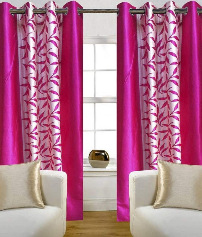 Ville Style 2 m (0 ft) Polyester Window Curtain (Pack Of 2)(Floral, Pink)