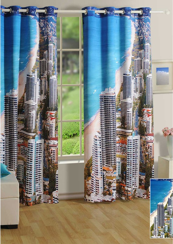 Swayam 225 cm (7 ft) Polyester Door Curtain Single Curtain(Printed, Blue)