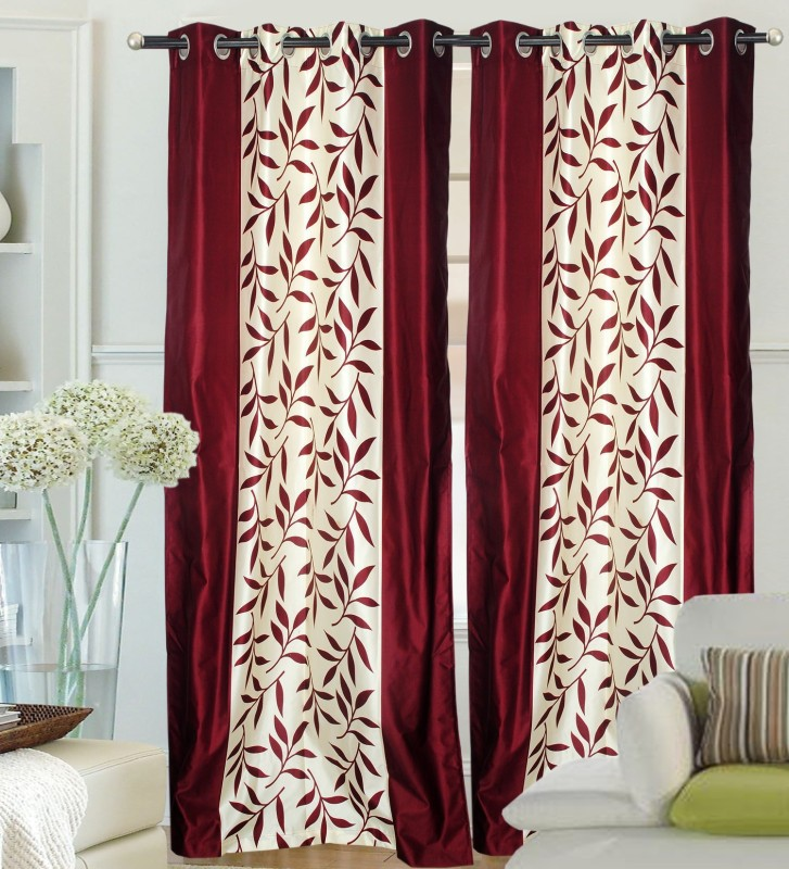 Ville Style 2.14 m (0 ft) Polyester Door Curtain (Pack Of 2)(Floral, Maroon)