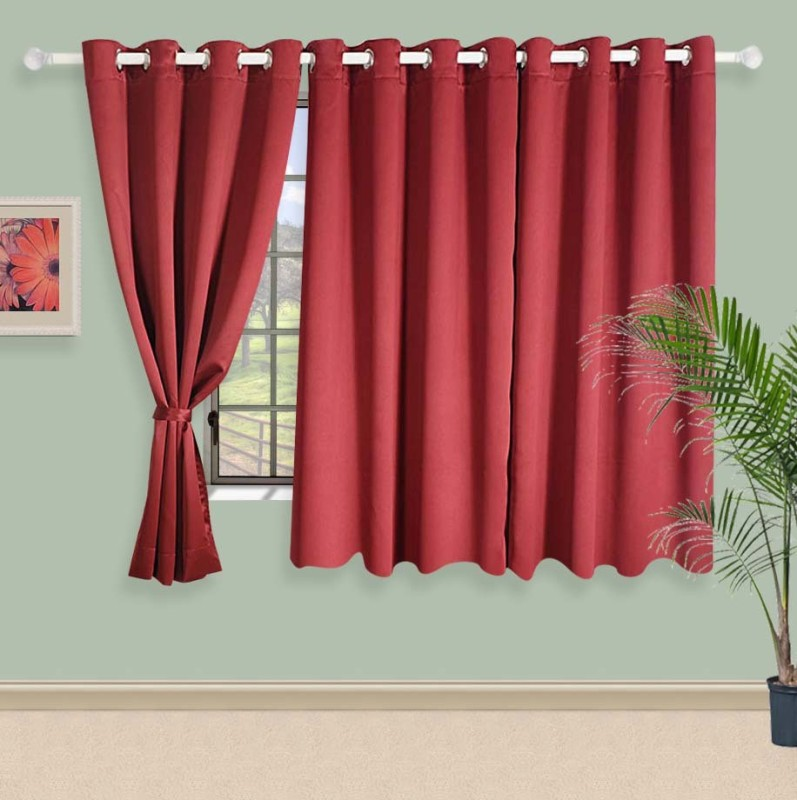 Swayam 152 cm (5 ft) Polyester Window Curtain Single Curtain(Solid, Maroon)